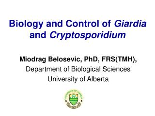 Biology and Control of  Giardia  and  Cryptosporidium