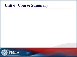 Unit 6:   Course Summary