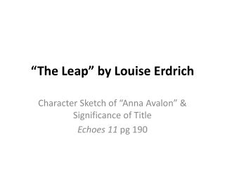 """""""The Leap"""" by Louise Erdrich"""