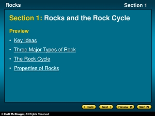 Section 1: Rocks and the Rock Cycle