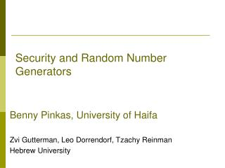 Security and Random Number Generators