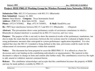Project: IEEE P802.15 Working Group for Wireless Personal Area Networks (WPANs) Submission Title: 802.15.3 Coexistence w