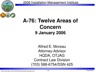 A-76: Twelve Areas of  Concern 9 January 2006