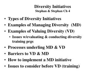 Types of Diversity Initiatives Examples of Managing Diversity  (MD) Examples of Valuing Diversity (VD)