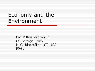 Economy and the Environment