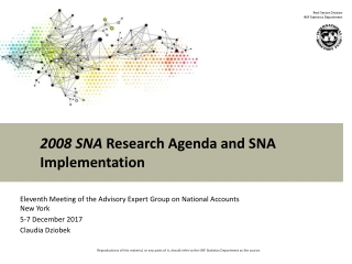 2008 SNA Research Agenda and SNA Implementation