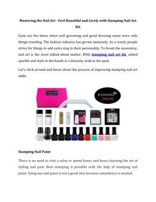 Feel Beautiful and Lively with Stamping Nail Art Kit
