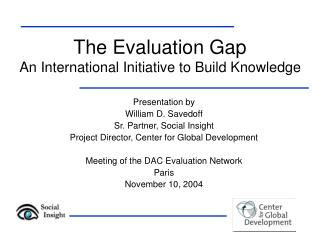 The Evaluation Gap An International Initiative to Build Knowledge