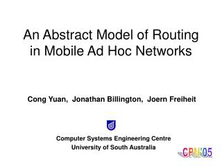 An Abstract Model of Routing in Mobile Ad Hoc Networks