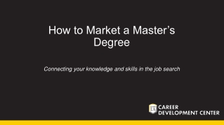 How to Market a Master's Degree
