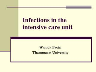 Infections in the intensive care unit