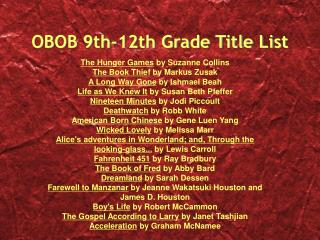OBOB 9th-12th Grade Title List