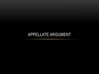 Appellate Argument