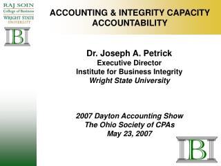 ACCOUNTING  INTEGRITY CAPACITY ACCOUNTABILITY