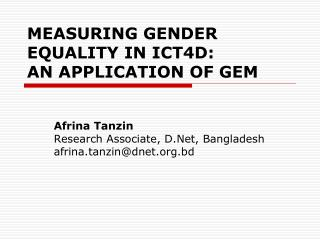 ICT for Gender Equality