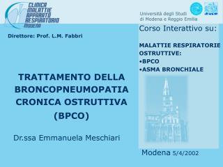 Direttore: Prof. L.M. Fabbri