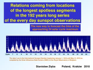 Relations coming from locations of the longest spotless segments in the 19 2 years long series of the every day suns