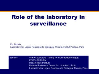 Role of the laboratory in surveillance