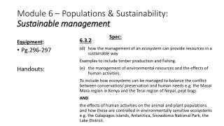 Module 6 – Populations & Sustainability: Sustainable management