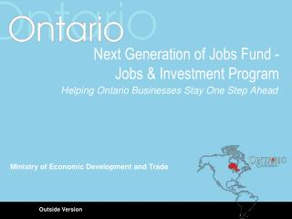 Next Generation of Jobs Fund -  Jobs & Investment Program