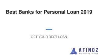 Best Banks for Personal Loan 2019