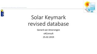 Solar Keymark revised database