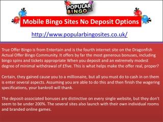 Mobile Bingo Sites No Deposit Options