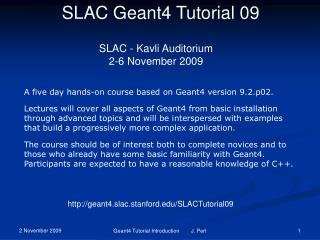 SLAC Geant4 Tutorial 09