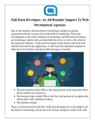 Full Stack Developer: An All-Rounder Support To Web Development Agencies