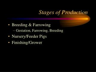 Stages of Production