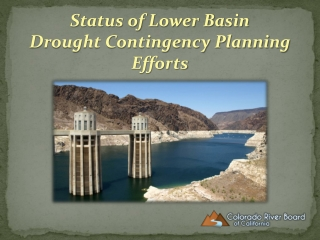 Status of Lower Basin Drought Contingency Planning Efforts