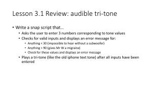 Lesson 3.1 Review: audible tri-tone