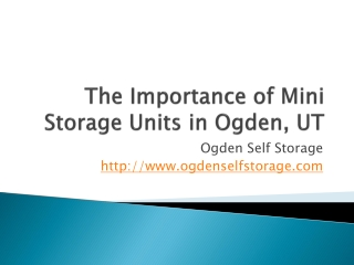 The Importance of Mini Storage Units in Ogden, UT