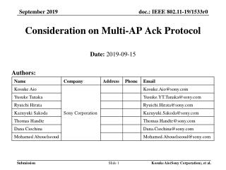 Consideration on Multi-AP Ack Protocol