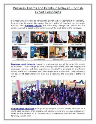 Business Awards and Events in Malaysia - British Export Companies