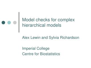 Model checks for complex hierarchical models