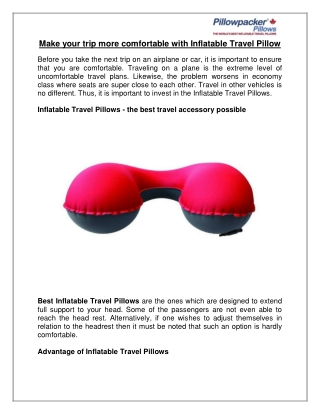 Make your trip more comfortable with Inflatable Travel Pillow
