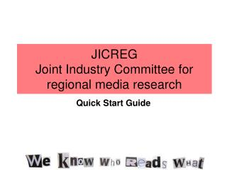 JICREG Joint Industry Committee for regional media research