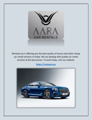 Luxury Car Hire Dubai - Rentaara.ae