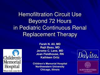 Hemofiltration Circuit Use  Beyond 72 Hours  in Pediatric Continuous Renal Replacement Therapy