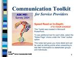 Communication Toolkit    for Service Providers