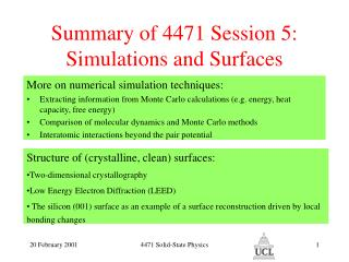 Summary of 4471 Session 5: Simulations and Surfaces