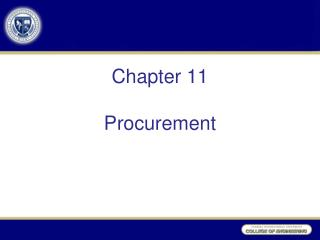 Chapter 11 Procurement
