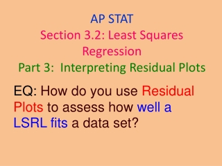 EQ: How do you use Residual Plots to assess how well a LSRL fits a data set?