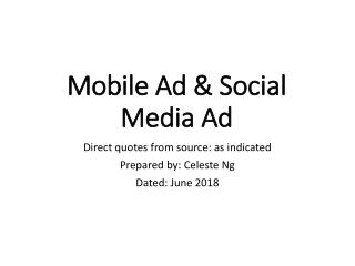 Mobile Ad & Social Media Ad