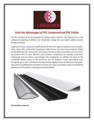 Grab the Advantages of PVC Compound and PVC Pellets