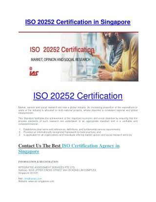ISO 20252 Certification Services in Singapore