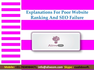 Explanations For Poor Website Ranking And SEO Failure