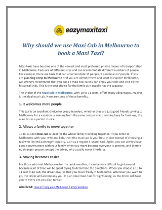 Why should we use Maxi Cab in Melbourne to book a Maxi Taxi?