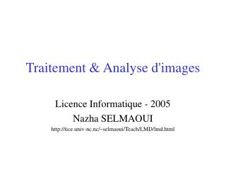 Traitement & Analyse d'images